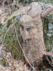 """Holzskulptur """"Der Gehörnte"""